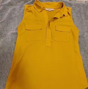 Loft mustard yellow collared sleeveless tank